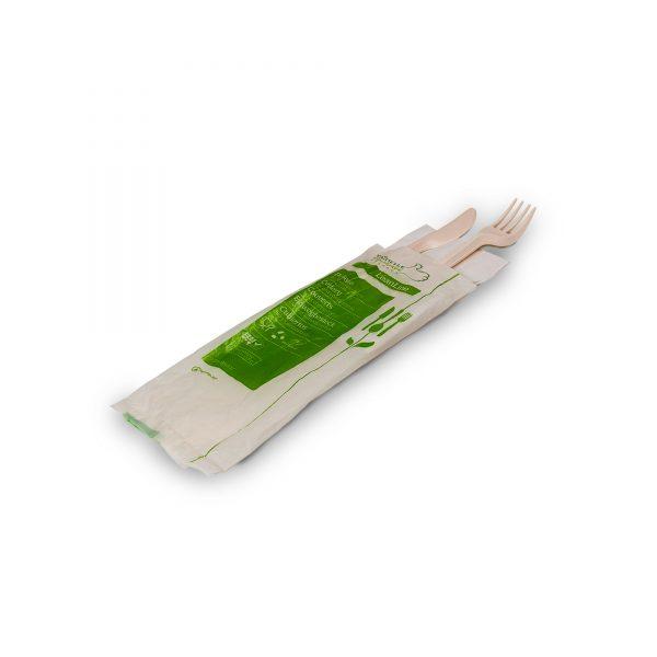 Kit 2 couverts zeapack + serviette jetable sans plastique