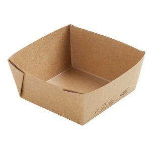 Barquettes biodégradables en carton laminé PLA Cube Low 113x113x50mm 510ml certifié FSC